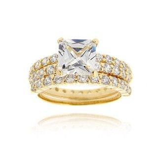 Icz Stonez 18k Gold over Sterling Silver Cubic Zirconia Bridal Ring