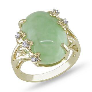 Miadora 14k Yellow Gold Green Jade and Diamond Accent Ring (G H, I1 I2
