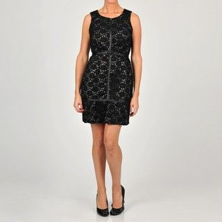 Oleg Cassini Womens Belted Black Lace Dress
