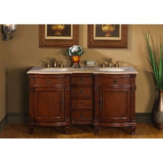 Silkroad Exclusive Travertine Stone Top 60 inch Double Sink Vanity