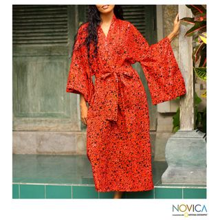 Cotton Red Floral Kimono Batik Robe (Indonesia)