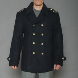 Imperious Mens Navy Wool blend Double breasted Military Peacoat