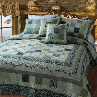 DaDa Bedding Green Vine Cotton Quilt Set Queen / Full