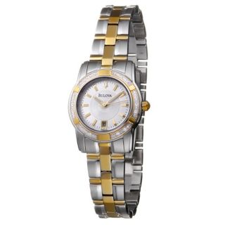 Bulova Womens Diamonds Two tone Stainless Steel Quartz Date Watch
