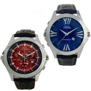 Chronotech Mens Leather Red/ Blue Dual face Chronograph Watch