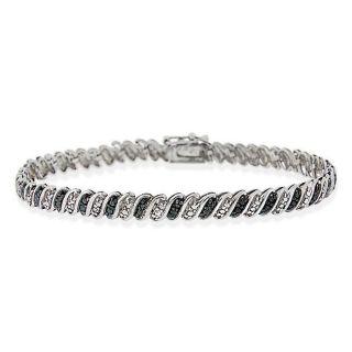 DB Designs Sterling Silver Black Diamond Accent Tennis Bracelet