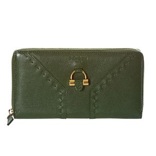 Yves Saint Laurent Muse Green Leather Zip around Wallet
