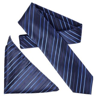 Boston Traveler Mens Diagonal Pinstripe Microfiber Tie and Hanky Set