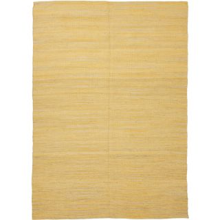Handmade Flat Weave Solid Gold/ Yellow Hemp/ Jute Rug (5 x 76) Today