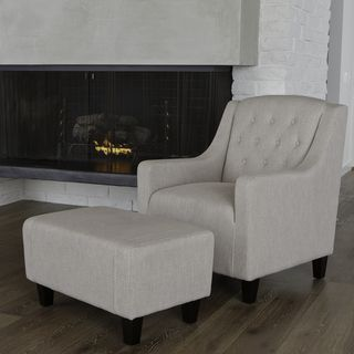 Christopher Knight Home Elaine Tufted Natural Fabric Club Chair and