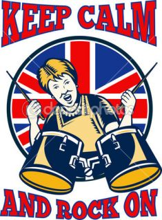 Keep Calm Rock On British Flag Queen Granny Drums  Vector stock