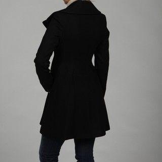 Jessica Simpson Womens Black Melton Zip front Coat