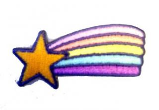 2 Shooting Star with Rainbow Logo Iron on Patch: Clothing