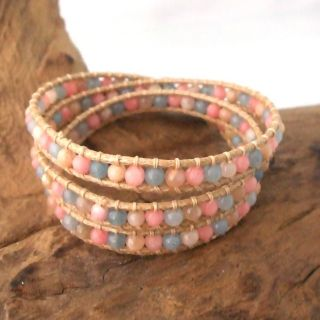 Rosy Magic Rose Quartz Stone Snake Cord Wrap Leather Bracelet