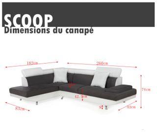 SCOOP Canapé PU et tissu dangle droit blanc/gris   Achat / Vente