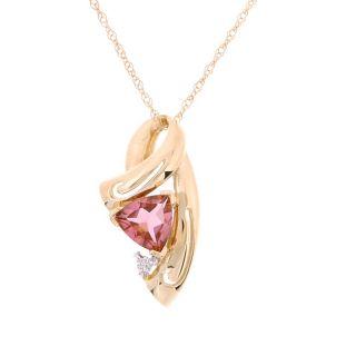14k Yellow Gold Diamond Pink Tourmaline Pendant