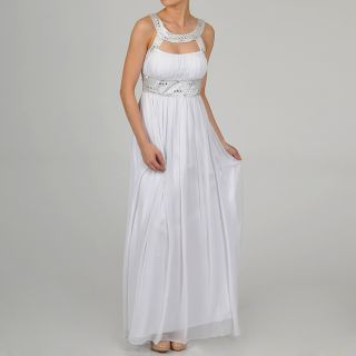 One By Eight Womens Ivory Chiffon Beaded Keyhole Gown Today $163.89