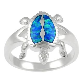 Tressa Sterling Silver Blue Opal Turtle Ring