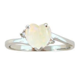 10k Gold October Birthstone Opal/ Diamond Heart Ring
