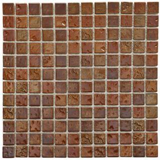SomerTile 12x12 in Samoan 1 in Antique Copper Porcelain Mosaic Tile