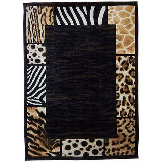 Skinz Design Aminal Skin Patchwork Border Area Rug (5 x 7