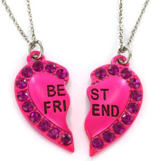 Silvertone Pink Resin Best Friend Heart 2 piece Necklace Set