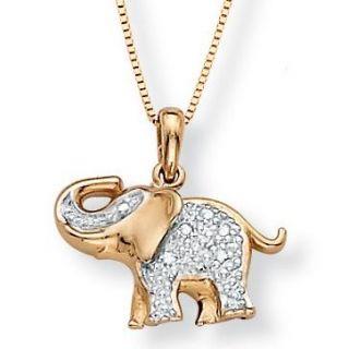 Isabella Collection 10k Gold Diamond Accent Elephant Pendant
