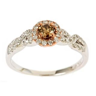 Yach 14k Two tone Gold 5/8ct TDW Brown and White Diamond Ring (I J