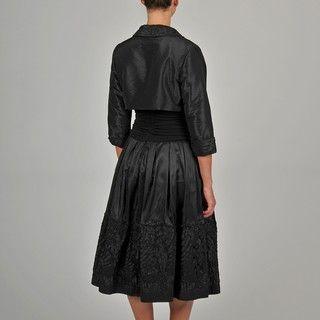 Fashions Womens Black Embellished Hem Taffeta Bolero Jacket