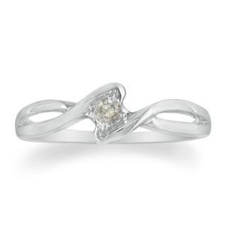 Sterling Silver Diamond Accent Solitaire Promise Ring (J K, I2 I3