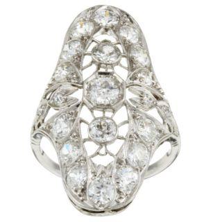 Platinum 3ct TDW Diamond Deco Period Antique Ring