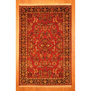 Indo Hand knotted Sarouk Burgundy/ Navy Wool Rug (4 x 61