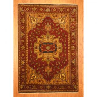 Indo Hand knotted Heriz Rust/ Beige Wool Rug (4 x 6)