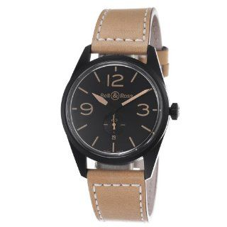 Bell & Ross Mens BR123 HERITAGE Vintage Black Dial and Brown Strap