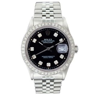 Pre owned Rolex Mens Datejust White Gold Black Diamond Dial Watch