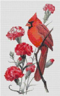 Ohio State Bird and Flower Counted Cross Stitch Pattern