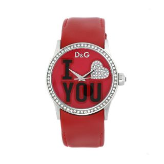 Dolce & Gabbana Womens I Love You Red Leather Watch