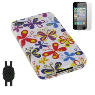 in 1 Color Butterfly Design iPhone 4 Case Bundle