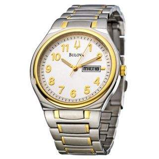 Bulova Mens Bracelet Two tone Stainless Steel Quartz Date Watch