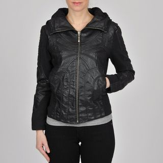 Montanaco Womens Black Faux Leather Jersey Knit Combo Jacket