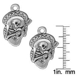 Silverplated Pewter Dia De Los Muertos Guitar Pendants (Set of 2