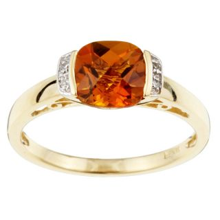 14k Yellow Gold Checkerboard Citrine and Diamond Ring (Size 7