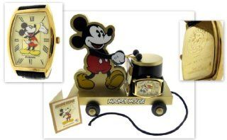 Mickey Mouse Gold Limited Edition Fossil Watch & Collectible Toy Train