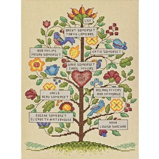 Vintage Family Tree Counted Cross Stitch Kit 9X12 14 Count