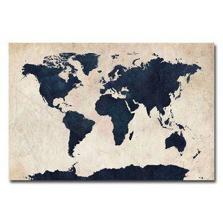 Michael Tompsett World Map   Navy canvas art