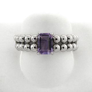 Sterling Silver Emerald cut Amethyst Beaded Stretch Ring