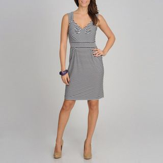 Sophia Christina Womens Black and White Striped Casual Dress