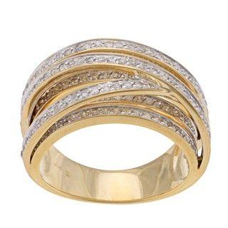 Beverly Hills Charm 14k Yellow Gold 1ct TDW Diamond Cross over Ring