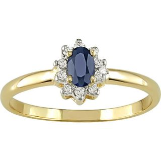14k Gold Blue Sapphire and Diamond Accent Ring