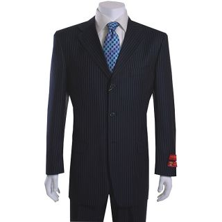 Mantoni 3 button Navy Blue Pinstriped Wool Suit